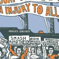"This is a blue, white, orange, and teal poster. There are people in a crowd protesting and carrying signs. At the top of the image there is a sign that reads in orange text, ""Injury to one is an injury to all""."